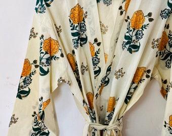 White orange Cotton Block Print Kimono Robe - Cotton Kimono - Beach Cover Up - Lounge Wear - Casual wear - Kimono - Night Cover Up Robe