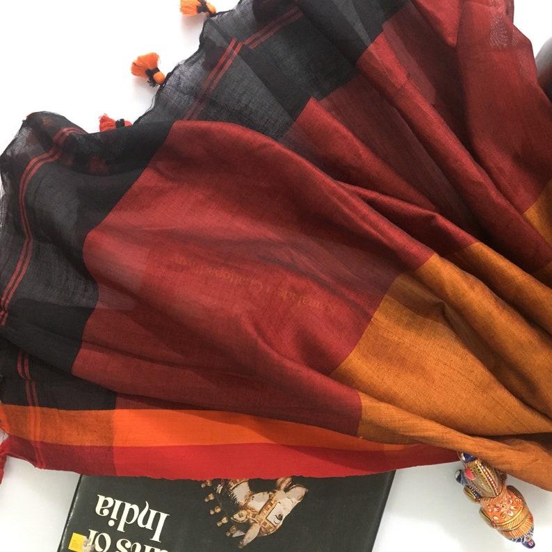 Black Red Bengal Khadi Cotton Saree - Handloom Saree - Saree with Blouse -  Indian Saree - Saree for Women