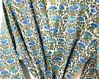 White Blue Cotton Block Print Kimono Robe - Cotton Kimono - Beach Cover Up - Lounge Wear - Casual wear - Kimono - Night Cover Up Robe