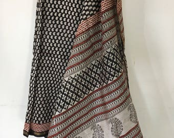 Black Chanderi Silk Cotton Saree - Hand Block Print Saree - Chanderi Saree - Saree For Women - Saree Blouse Gift for Mum