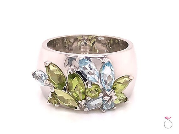 Louis Feraud Aquamarine and Peridot Cluster Ring