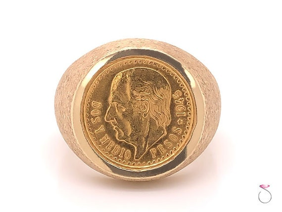 Mens Gold 2.50 Mexican Peso Coin Pinky Ring, 14K &