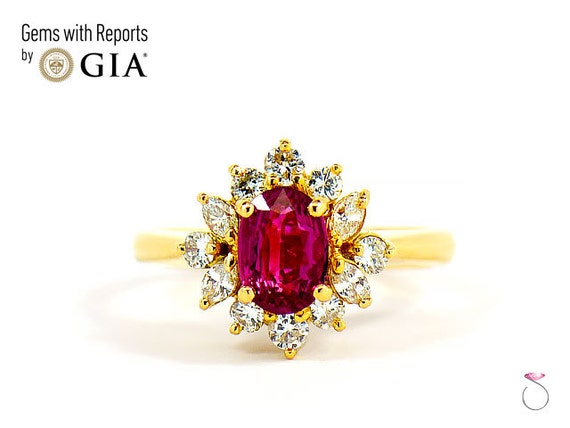 9d55a3285 GIA Natural Burma Ruby Diamond Halo Ring in 18k Yellow Gold | Etsy