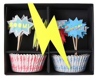 Zap! Cupcake Kit for Baking Childrens Birthday Party Kids Magical Electric Colours Wizards Witches Parties Supplies Gifts