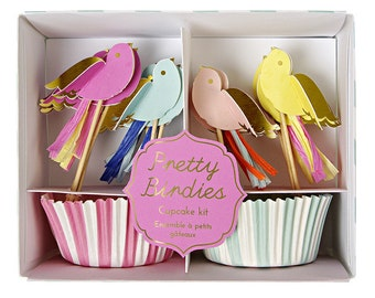 Pretty Birdies Cupcake Kit for Birthday Parties Girls Kids Hen Dos and Bridal Showers Pink Blue and Yellow Bird Cake Toppers Bakers Gifts