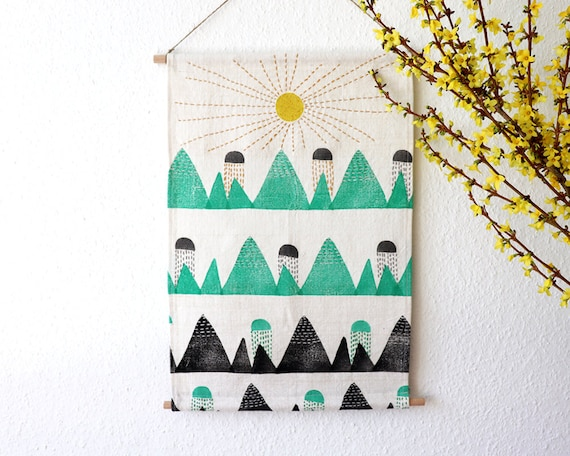 As Montanhas // Illustrated & Hand-printed wall-hanging