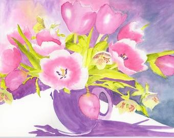 Purple tulips watercolour original