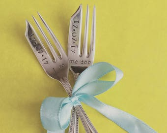 Wedding cake forks. I do, Me too. Wedding Date. Vintage. Personalised handstamped gift, keepsake. His Hers, Bride Groom.