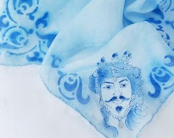Hand-painted silk Moro head handkerchief, Sicilian gifts with Moorish head