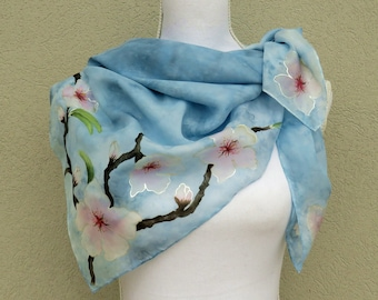 Floral square scarf with hand-painted cherry blossoms