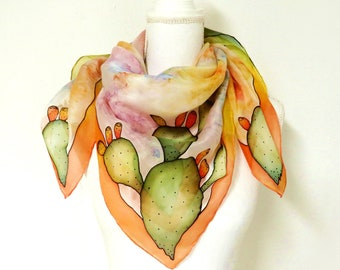Large multicolored scarf in pure hand-painted silk with prickly pears