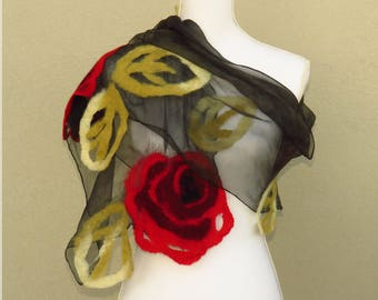 Scarves wool and silk, scarf with red roses of silk and felt, shawl of red and black wool, felted wool, scarf scarves in Nuno felt