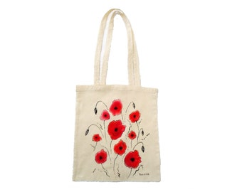 Shopper bag cotton with hand-painted poppies, personalized shopper with name or initials, personalized gifts with poppy