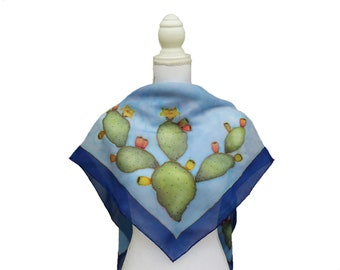 Blue and blue hand-painted square scarf in silk with ply pears. Scarf with personalized phrase, name on scarf. Sicilian gifts