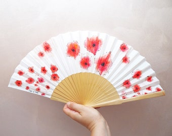 Hand-painted cloth fan with poppies. Personalized fan with name, phrase or initials, bridal fan, personalized gifts