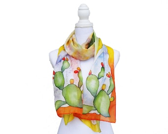Multicolored customizable silk scarf hand-painted with indian figs