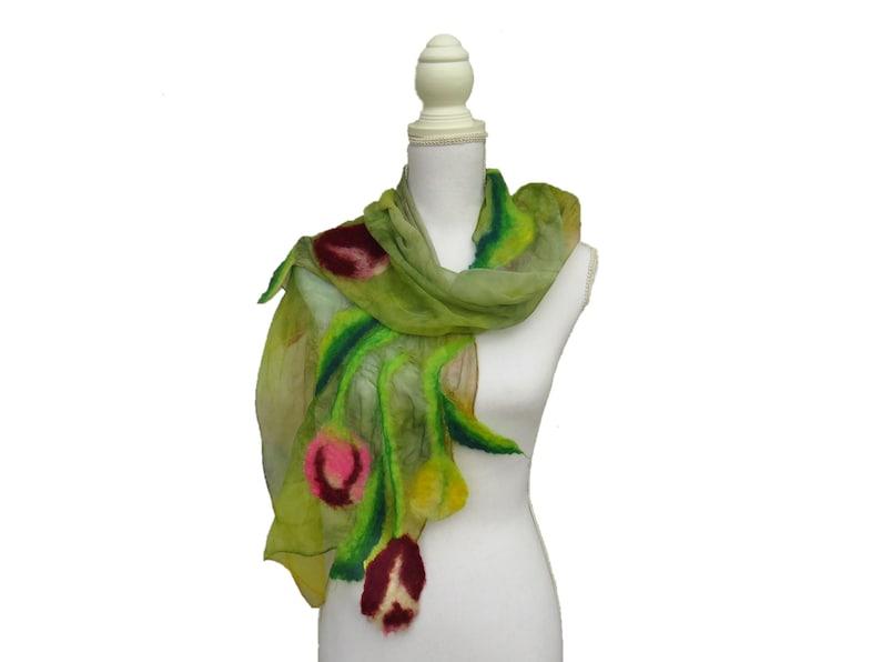 Felt nuno scarf with Tulips silk shawl and felted wool image 0
