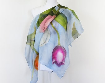 Square scarf with hand-painted pure silk tulips. Custom named or initial scarf