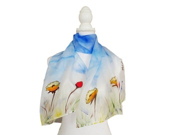 Scarf with yellow silk poppies hand-painted, scarves yellow flowers, blue yellow white floral shawl, spring flower sylaint