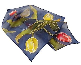 Pocket handkerchief with hand-painted silk tulips. Customizable men's handkerchief with name or monogram