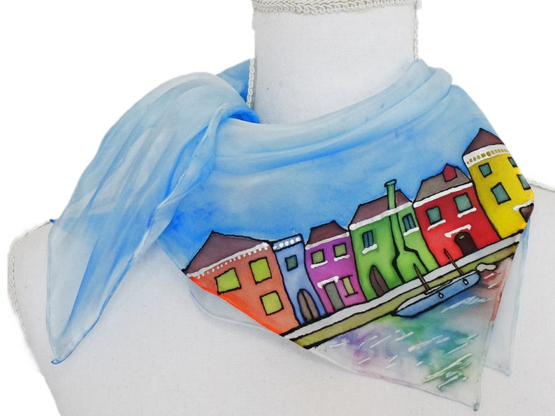 Foulard Venice with colorful burano houses hand-painted image 1
