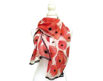 Silk scarf with hand-painted red poppies
