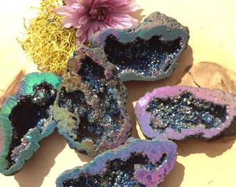 Geode Rainbow Cluster - Titanium Quartz Rainbow Cluster - Druzy - Quartz Cluster -  Crystal Healing - Aura Quartz Geode - Rainbow