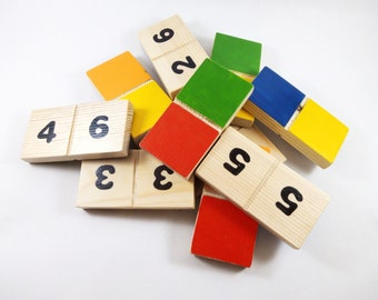 wooden dominos. 21 colourful wooden mini dominos blocks. handmade with vibrant colours and numbers. great family gift