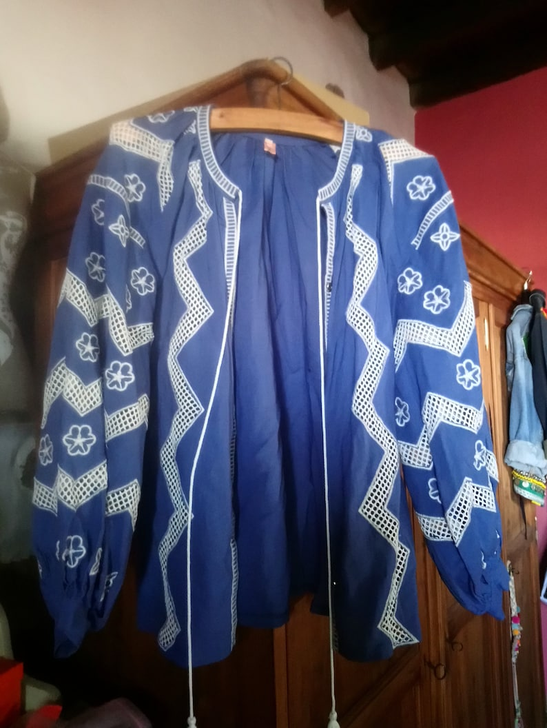Boho blouse  embroidered cotton jacket.