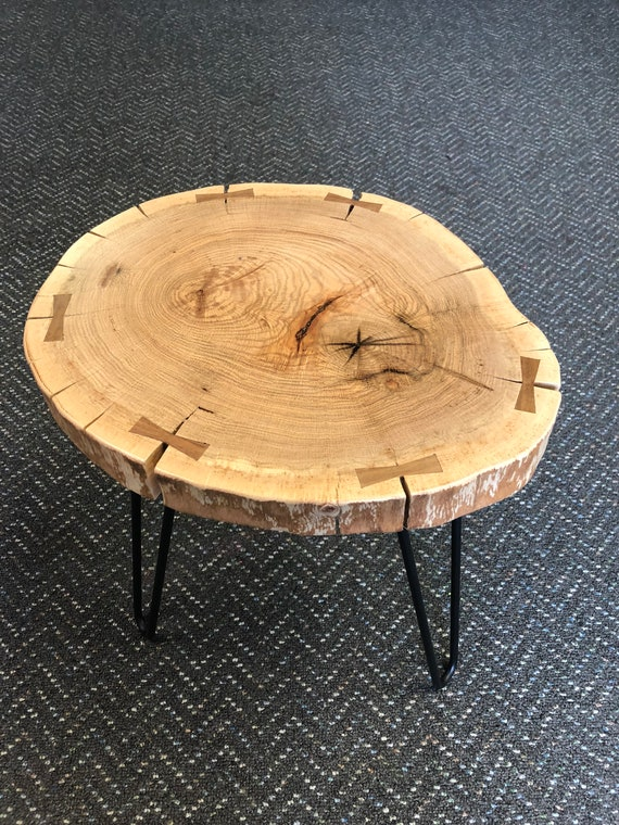 Handmade Red Oak Live Edge Side Table With Hairpin Legs And Etsy