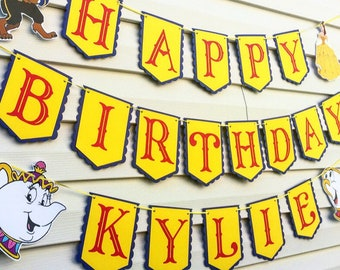 Beauty and The Beast Birthday Banner - Birthday - Party Decorations - Belle Birthday Party