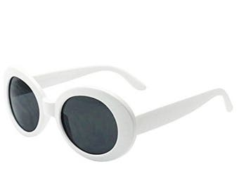 88dc67a5c6 White Oval Round Retro Clout Goggles - Hippie Clothes Aesthetic Clothing