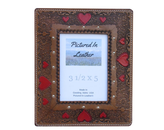 3-1/2x5 Leather picture frame, medium brown, hand painted red hearts, embossed heart design. Wedding frame, anniversary frame, ready to ship