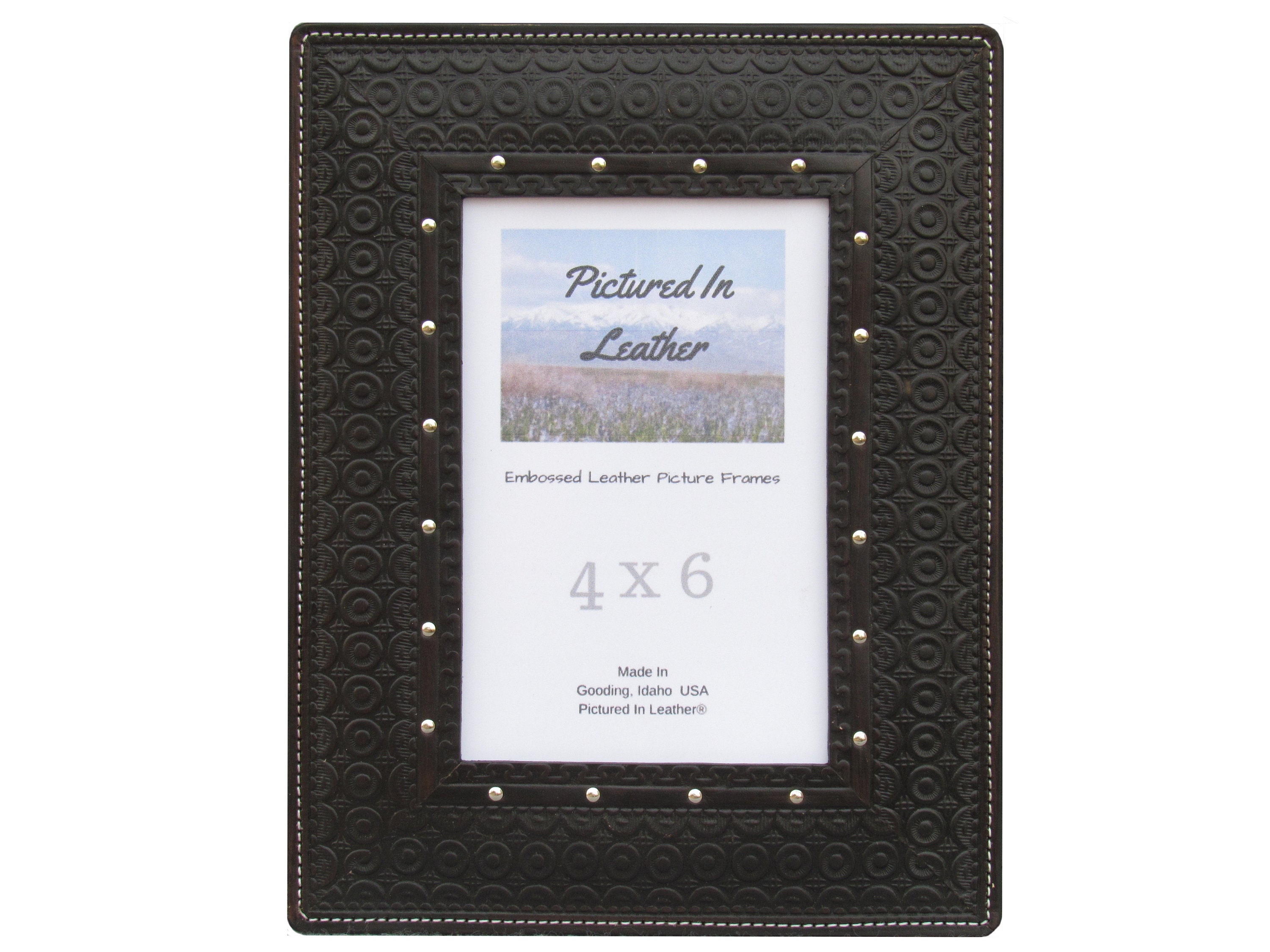 4x6 Black leather picture frame, embossed geometric circles design ...