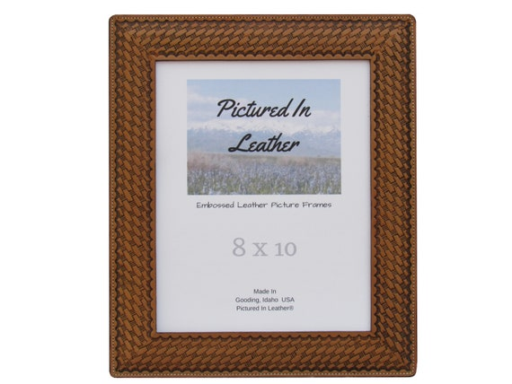 8x10 Leather picture frame, with a basketweave design, dyed light brown, 8x10 leather photo frame,  8x10 photo frame