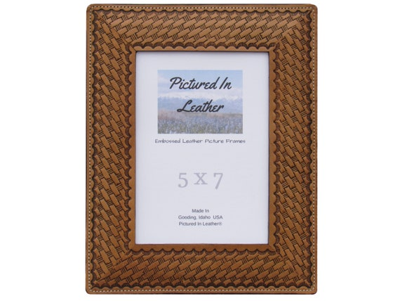 5x7 Leather picture frame, 5x7 leather photo frame, embossed with a basketweave design, dyed light brown, beautiful Mothers Day gift for mom