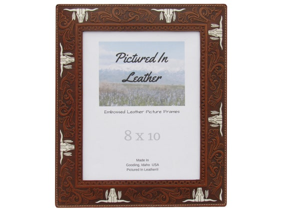 8x10 Leather picture frame, embossed with Texas longhorns that are hand painted white, medium brown, western photo frame ready to ship