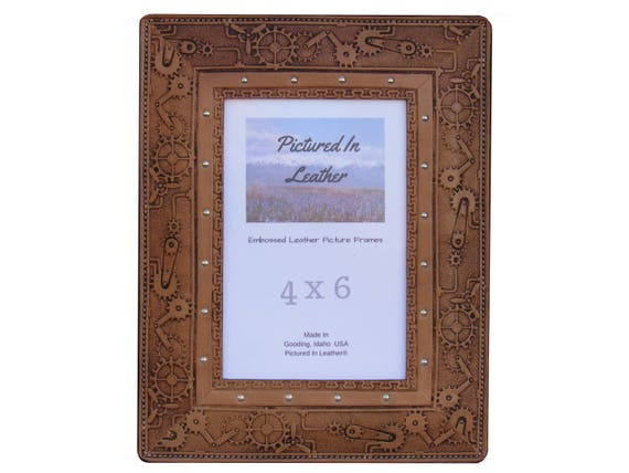 Leather picture frame, 4x6, light brown, embossed steampunk design. Steampunk picture frame, leather steampunk photo frame, ready to ship.