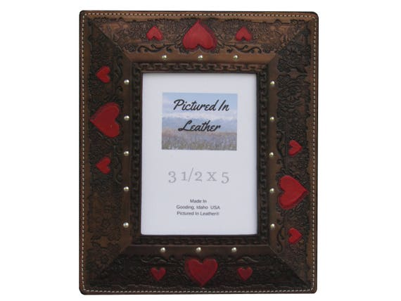 Leather photo frame, 3-1/2x5, black, embossed hand painted red hearts. Leather wedding frame, 3rd leather anniversary frame, ready to ship.