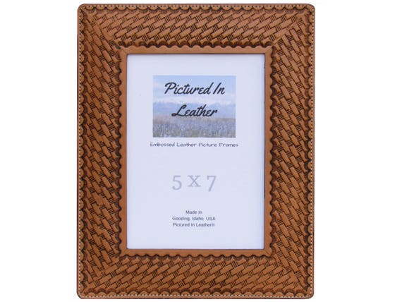 5x7 Leather photo frame, embossed with a basketweave design, dyed a tan or cognac brown, great leather anniversary gift, ready to ship
