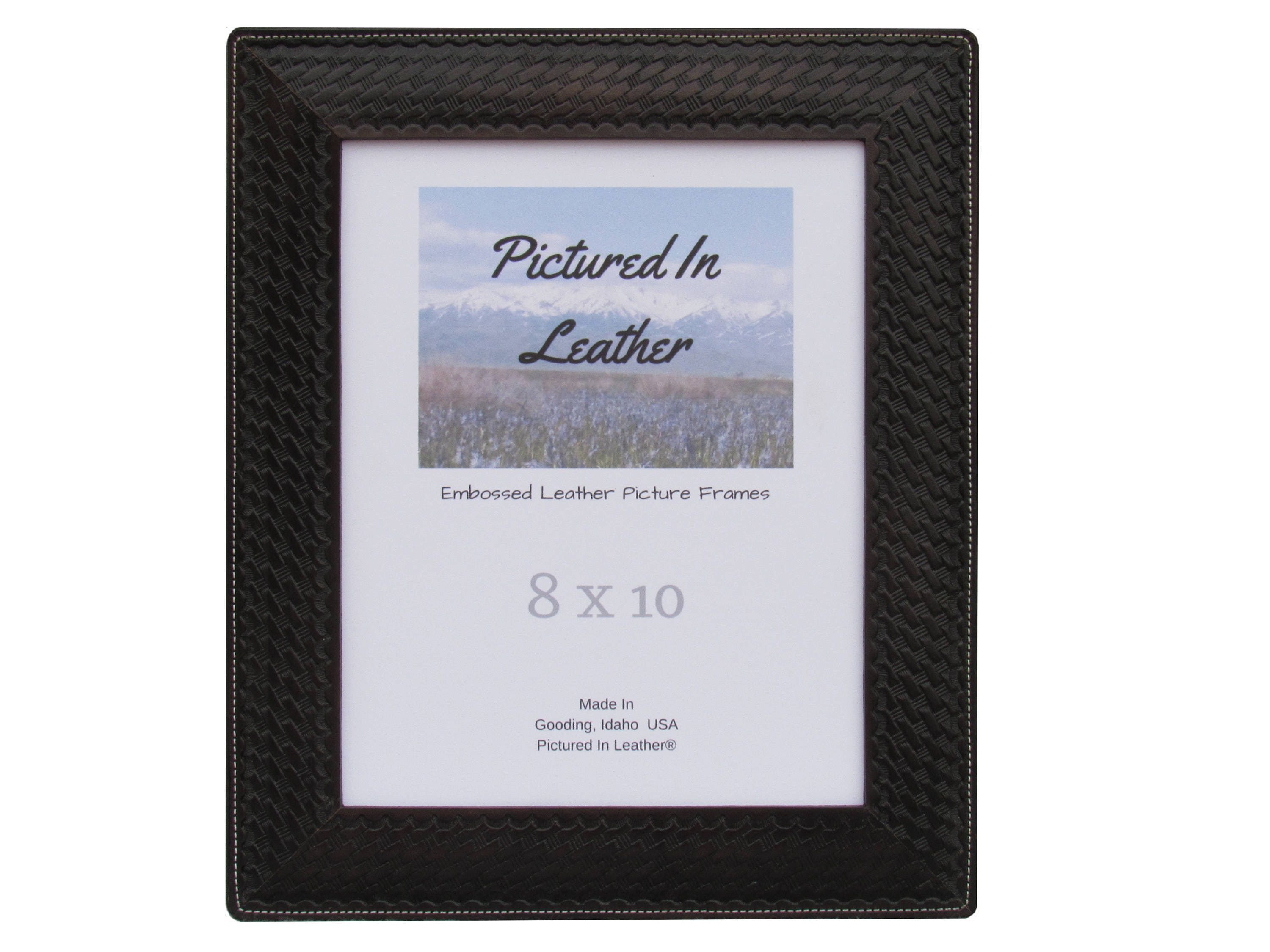 8x10 Leather photo frame, a black picture frame embossed with a ...