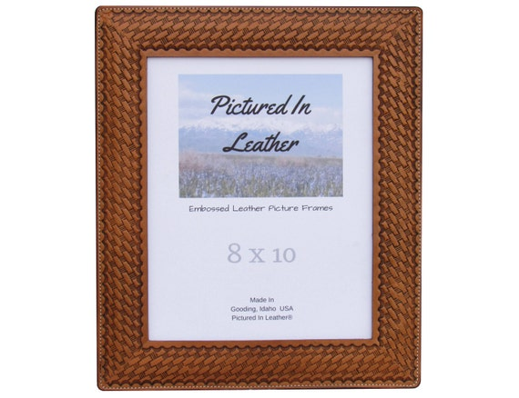 8x10 Leather picture frame, with a basketweave design, dyed light brown, 8x10 leather photo frame, 8x10 anniversary picture frame
