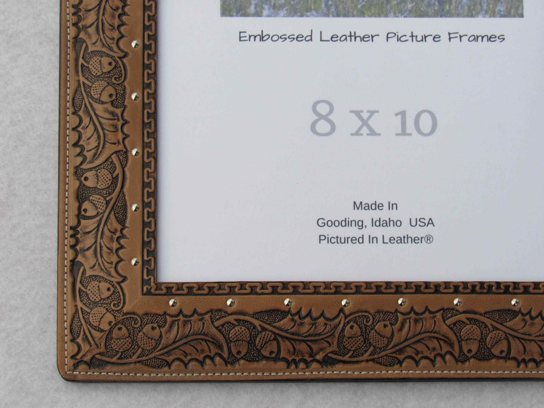8x10 Oak leaf leather picture frame, 8x10 oak leaf photo frame ...