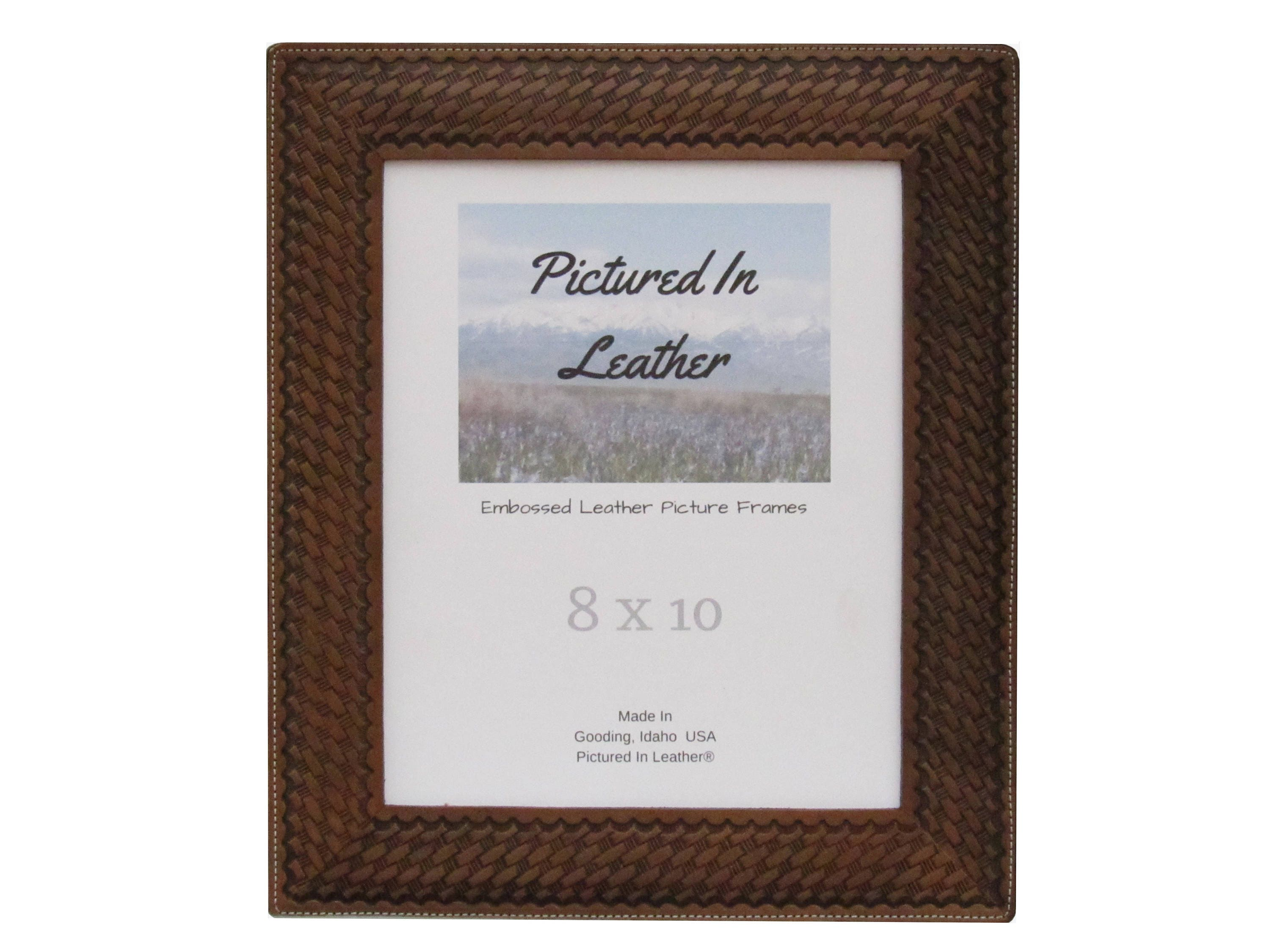 8x10 Picture frame, embossed leather photo frame, brown picture ...