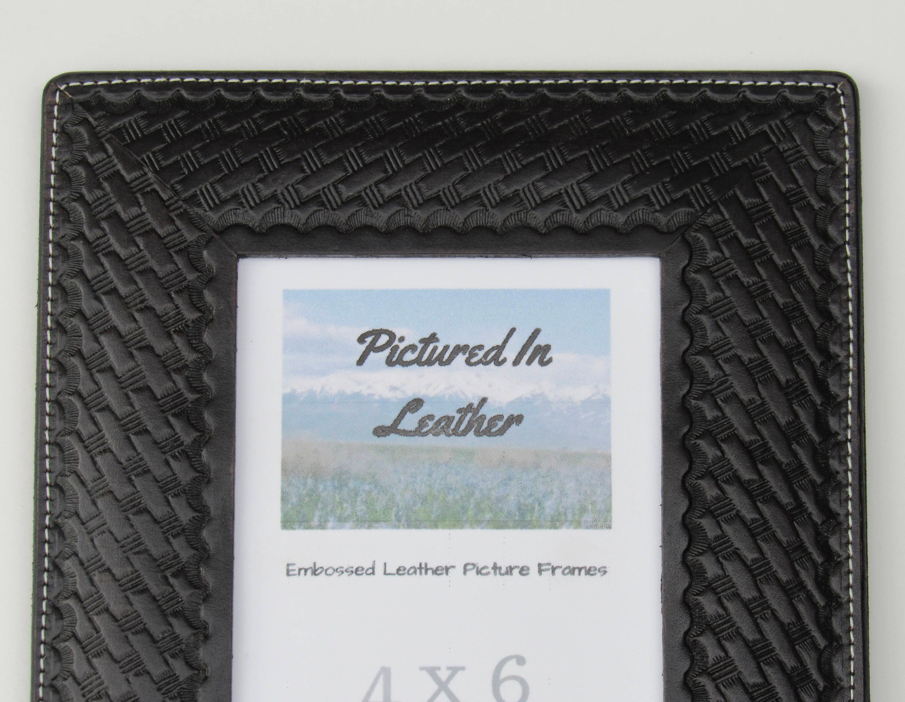 4x6 Black leather picture frame, embossed basketweave design, 4x6 ...