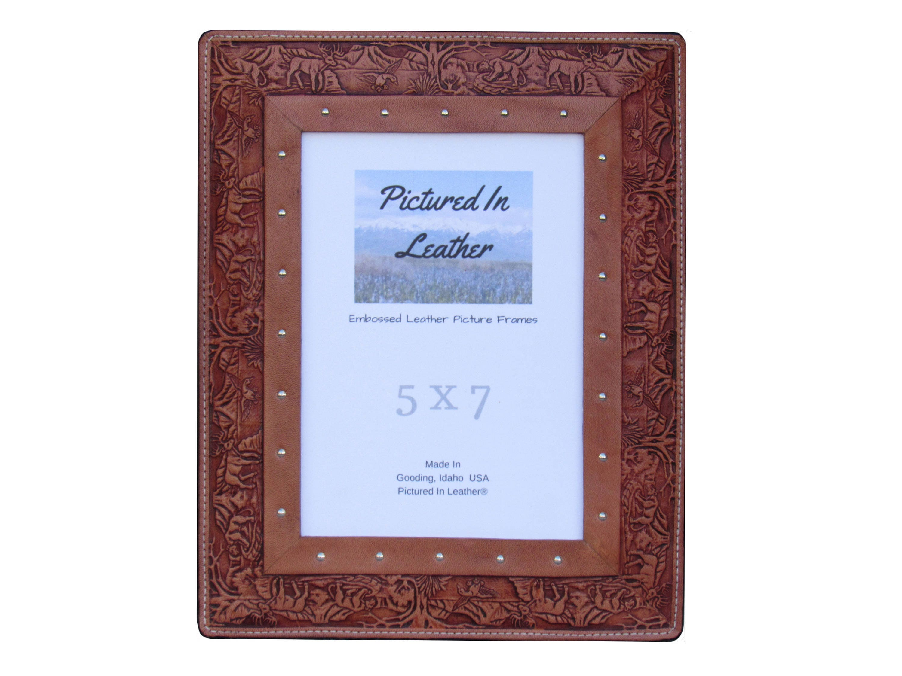 An outdoorsy gift, a lovely leather picture frame, 5x7, embossed ...