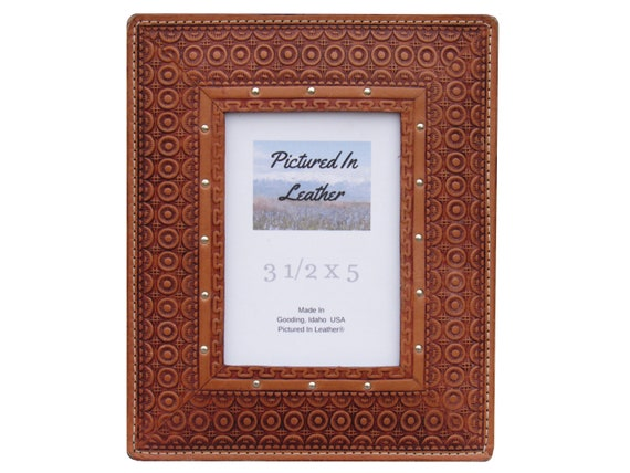 Leather picture frame, 3-1/2x5, leather photo frame, embossed picture frame with a circles design.  Western photo frame, rustic photo frame