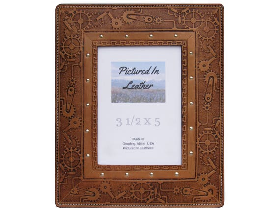 Leather photo frame, 3-1/2x5, light brown, embossed steampunk design. Steampunk picture frame, steampunk decor or gift ready to ship.