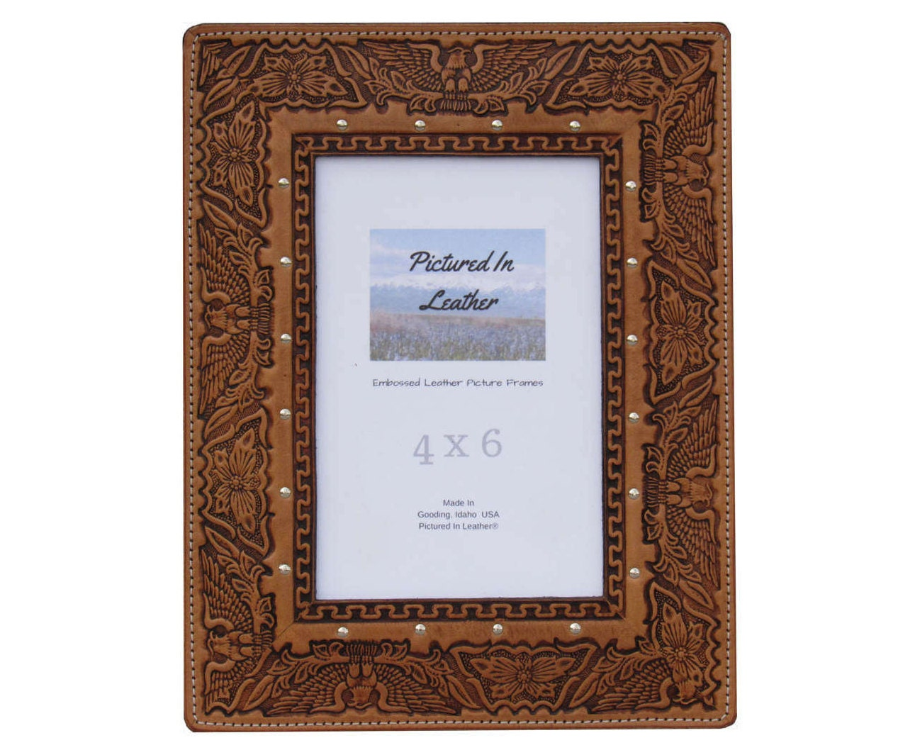 Patriotic 4x6 leather picture frame, patriotic eagle frame ...
