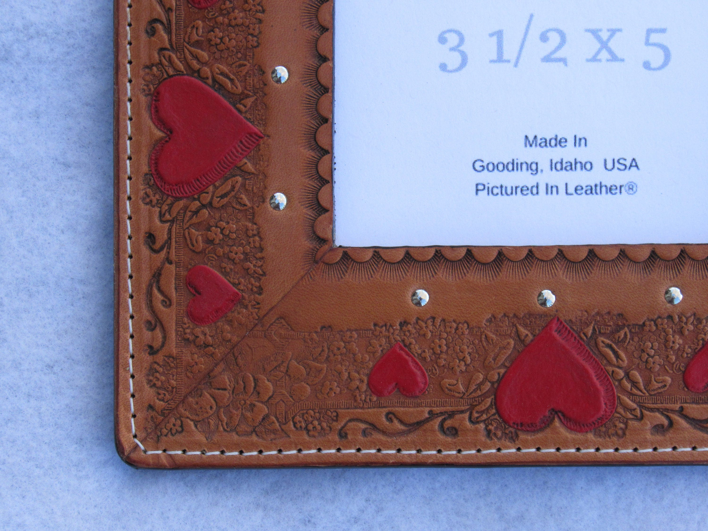 3 12x5 Leather Picture Frame 3rd Anniversary Gift Heart Picture